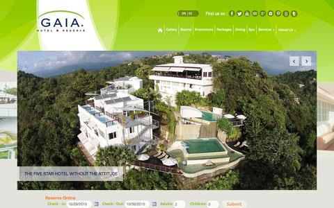 Screenshot of Home Page gaiahr.com - Gaia Boutique Hotel | Luxury Experience in Manuel Antonio Costa Rica - captured Oct. 29, 2015