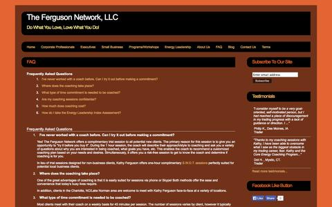 Screenshot of FAQ Page thefergusonnetwork.com - The Ferguson Network, LLC - The Ferguson Network, LLC - captured Sept. 23, 2014