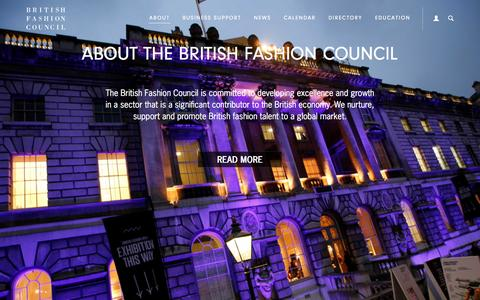 Screenshot of About Page britishfashioncouncil.com - British Fashion Council - About - captured Oct. 27, 2015