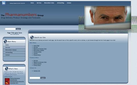 Screenshot of Site Map Page pharmanumbers.com - Sitemap - captured Oct. 6, 2014
