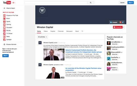 Screenshot of YouTube Page youtube.com - Winston Capital  - YouTube - captured Oct. 26, 2014