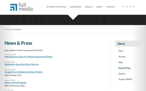 Screenshot of Press Page fullmedia.com - News and Press | Full Media - captured Oct. 30, 2014