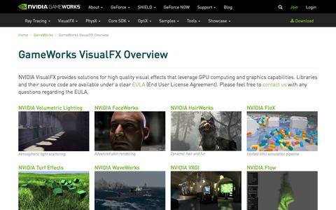 Screenshot of Developers Page nvidia.com - GameWorks VisualFX Overview | NVIDIA Developer - captured Aug. 23, 2018