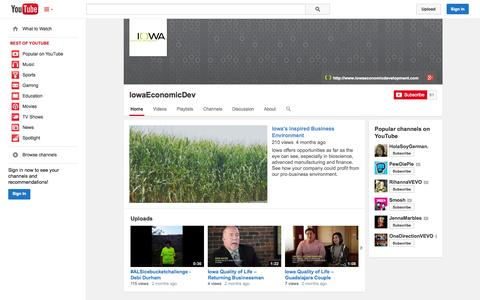 Screenshot of YouTube Page youtube.com - IowaEconomicDev  - YouTube - captured Oct. 23, 2014