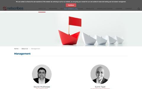 Screenshot of Team Page netscribes.com - Management | Netscribes - captured Dec. 29, 2019