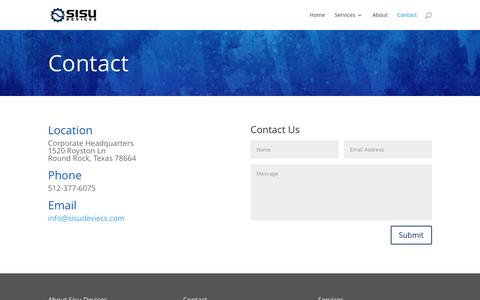 Screenshot of Contact Page sisudevices.com - Contact | Sisu Devices - captured May 11, 2017