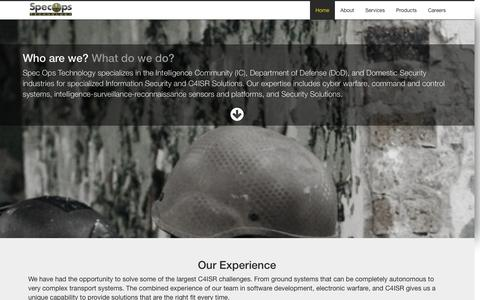 Screenshot of Home Page specopstechnology.com - Spec Ops Technology - captured Sept. 30, 2014