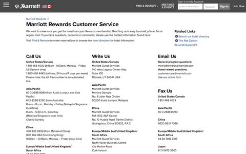 Screenshot of Support Page marriott.com - Marriott Rewards Phone Number and Customer Service Information - captured July 7, 2018