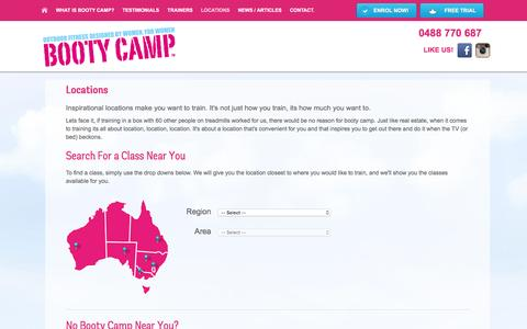 Screenshot of Locations Page bootycamp.com.au - Boot Camps Sydney, Melbourne, Brisbane, Adelaide, Perth | Booty Camp - captured July 29, 2016