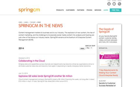 Screenshot of Press Page springcm.com - News for Content Management | Content Marketing | Page 1 - captured Oct. 28, 2014