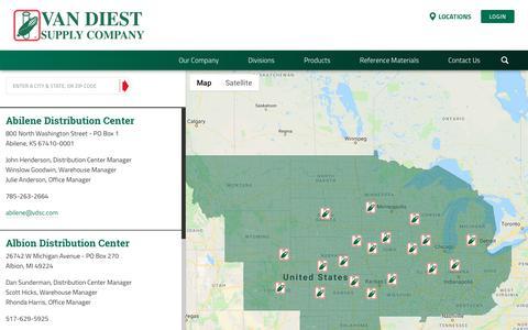 Screenshot of Locations Page vdsc.com - Locations | Van Diest Supply Company - captured Oct. 18, 2018