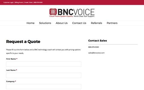Screenshot of Pricing Page bncvoice.com - Pricing - BNCVoice - captured Oct. 9, 2017