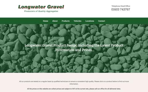 Screenshot of Products Page longwatergravel.co.uk - Sand and Gravel - Decorative Aggregates in Norfolk - captured Feb. 1, 2016