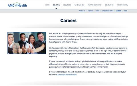 Screenshot of Jobs Page amchealth.com - Careers | Telehealth | Remote Patient Monitoring - captured Feb. 4, 2016