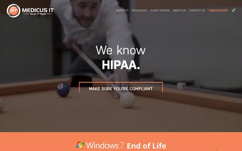 Screenshot of Home Page medicusit.com - Medicus IT   IT Support   Cyber Security   Healthcare IT Services - captured July 6, 2019