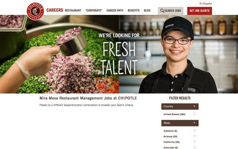 Screenshot of Jobs Page chipotle.com - Mira Mesa Restaurant Management Jobs at CHIPOTLE| Careers at CHIPOTLE - captured May 26, 2017