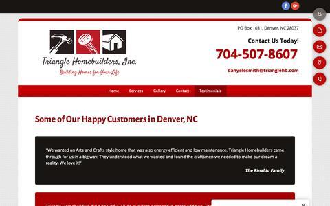 Screenshot of Testimonials Page trianglehb.com - Testimonials - Denver, NC - Triangle Homebuilders Inc. - captured Oct. 20, 2018