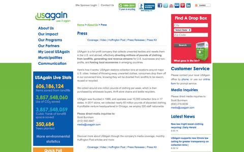 Screenshot of Press Page usagain.com - Press - captured Sept. 30, 2014