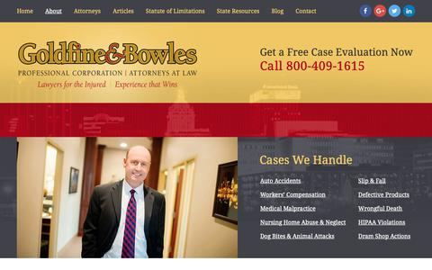 Screenshot of About Page goldfineandbowles.com - Peoria Attorneys | The Law Offices of Goldfine & Bowles, P.C. - captured Sept. 29, 2018
