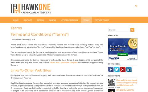 Screenshot of Terms Page hawkone.ca - Terms – HawkOne Cryptocurrency Reviews - captured Feb. 24, 2018