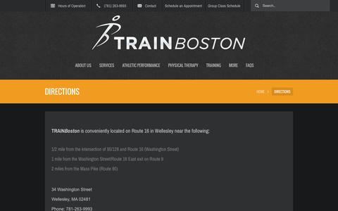 Screenshot of Maps & Directions Page trainboston.com - Directions - Train Boston | Train Boston - captured Oct. 9, 2014