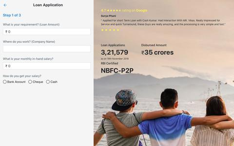 Screenshot of Signup Page cashkumar.com - Get Online Loan | Cashkumar | P2P Lending in India - captured Dec. 12, 2018