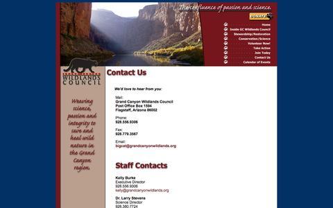 Screenshot of Contact Page grandcanyonwildlands.org - Contact Us - Grand Canyon Wildlands Council - captured Oct. 3, 2014