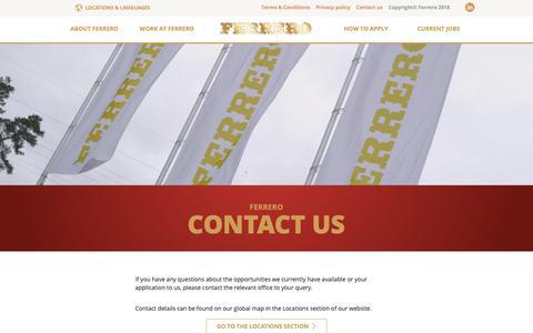 Screenshot of Contact Page ferrerocareers.com - Contact Us | Global Ferrero Careers - captured Nov. 15, 2018