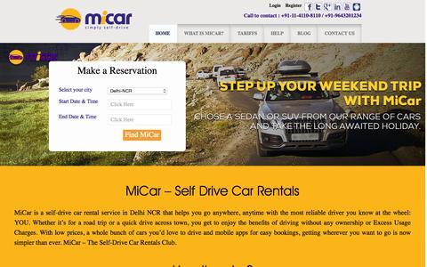 Screenshot of Home Page micar.co.in - Self Drive Car Rental In Delhi NCR | Book MiCar Online - captured Oct. 1, 2015