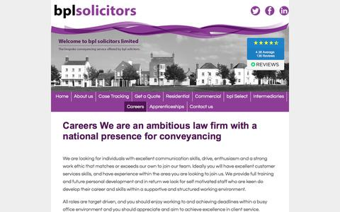 Screenshot of Jobs Page bplaw.co.uk - bpl solicitors - specialist conveyancing solicitors - captured Oct. 9, 2017