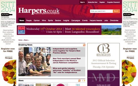 Screenshot of Home Page harpers.co.uk - Harpers Wine & Spirit Trade News - captured Sept. 22, 2014