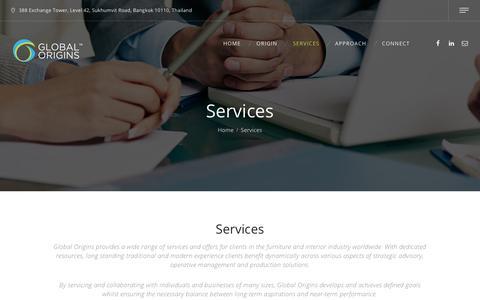 Screenshot of Services Page globaloriginsltd.com - Global Origins – The Furniture Circle - captured Aug. 10, 2017