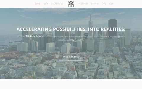Screenshot of Home Page thirdmanlabs.com - Third Man Labs | Accelerating Possibilities, into Realities - captured Oct. 9, 2014