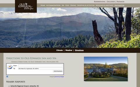 Screenshot of Maps & Directions Page oldedwardsinn.com - Directions to Old Edwards Inn and Spa | Old Edwards Inn & Spa, Highlands, NC - captured Oct. 30, 2014