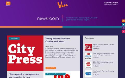 Screenshot of Press Page vumareputation.com - Vuma Reputation Management Newsroom & industry insights - captured Sept. 24, 2018