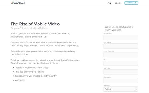 Screenshot of Landing Page ooyala.com - Global Video Index Q2 2013 - Free Webinar - captured July 27, 2016