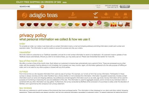 Adagio Teas - Privacy Policy