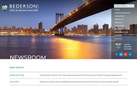 Screenshot of Press Page bederson.com - Newsroom | Bederson LLP - captured Oct. 5, 2018