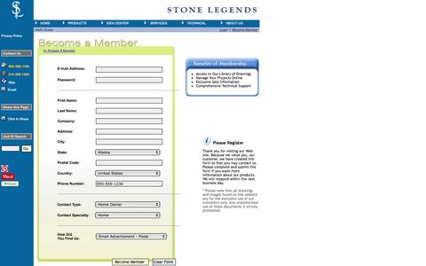 Screenshot of Signup Page stonelegends.com - Register for Membership Benefits Including 50,000+ Free Downloadable Drawings - Stone Legends - captured Oct. 27, 2016