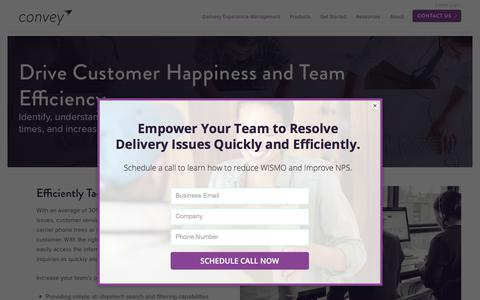 Screenshot of Support Page getconvey.com - Drive Customer Happiness and Customer Care Team Efficiency | Convey - captured Aug. 7, 2019