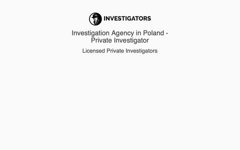 Screenshot of Home Page investigators.pl - Investigation Agency in Poland - Private Investigator - captured Sept. 29, 2018