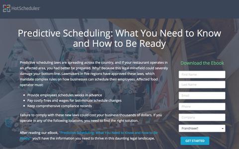 Screenshot of Landing Page hotschedules.com - HotSchedules Free eBook: Predictive Scheduling - captured March 8, 2018