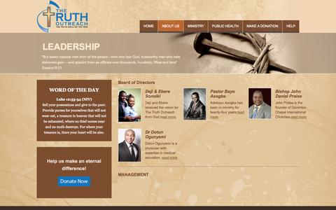 Screenshot of Team Page thetruthoutreach.com - Leadership | truth - captured Oct. 9, 2014