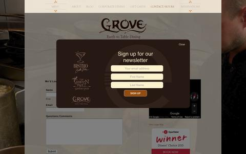 Screenshot of Contact Page groverestaurant.com - Contact | Contacting Grove in Grand Rapids, MI | Grove - captured March 5, 2016
