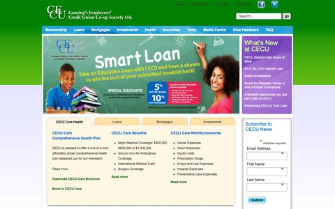 Screenshot of Home Page mycecu.com - Home - Canning's Employees' Credit Union (CECU) of Trinidad and Tobago - captured Sept. 23, 2015