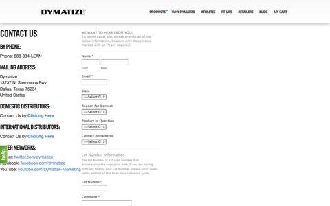 Screenshot of Contact Page dymatize.com - Contact Us - captured Oct. 1, 2015