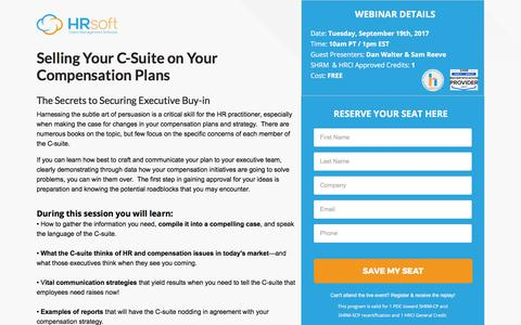Screenshot of Landing Page hrsoft.com - Selling Your C-Suite on Your Compensation Plans - Secrets to Securing Executive Buy-in - captured Sept. 18, 2017