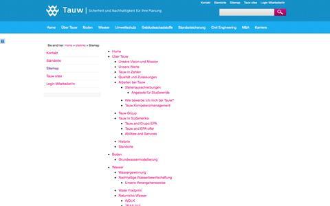 Screenshot of Site Map Page tauw.de - Tauw: Sitemap - captured Oct. 6, 2014
