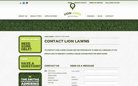 Screenshot of Contact Page lionlawns.co.uk - Lion Lawns Contact: Artificial Grass, Fake Lawns, Synthetic Turf - captured July 5, 2017