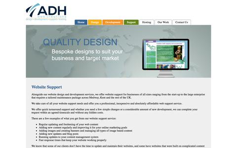Screenshot of Support Page adhwebcreations.co.uk - Website Support Kent and Medway - captured Sept. 30, 2014
